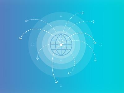 A Global spread outer world radiate diagram arrows rays spread globes