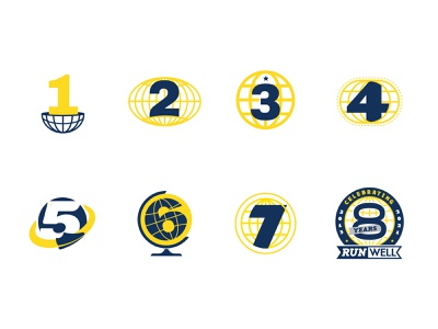RunWell 8 Years branding design logo event running app list celebration days 8 store earth globe global running runner run