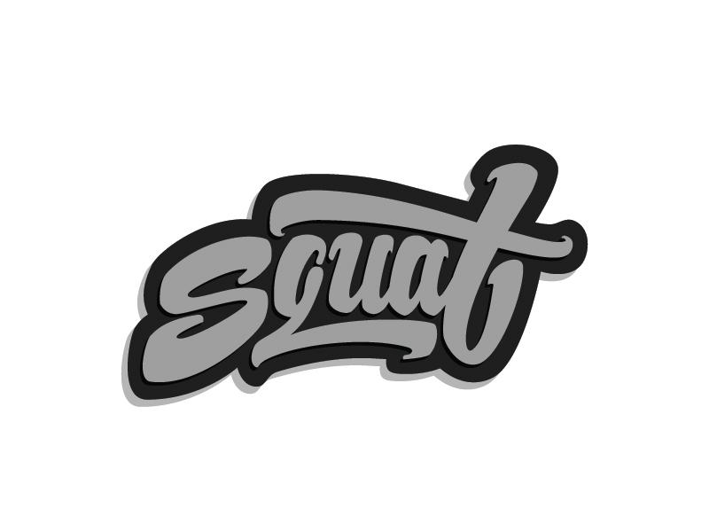 Guys, do squats! white black logo grey letters typography gym squat