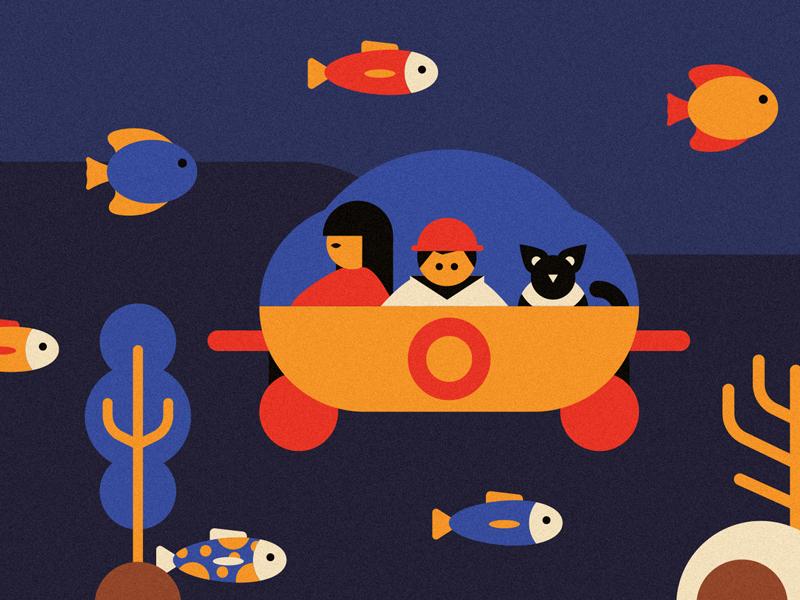 Submarine exploration children book flat design illustration axel nautilus calyspo submarine
