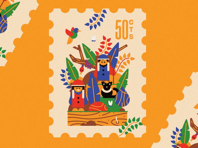 Between savannah and jungle 🐍 hiking bird cat snake animals jungle illustration flatdesign stamps