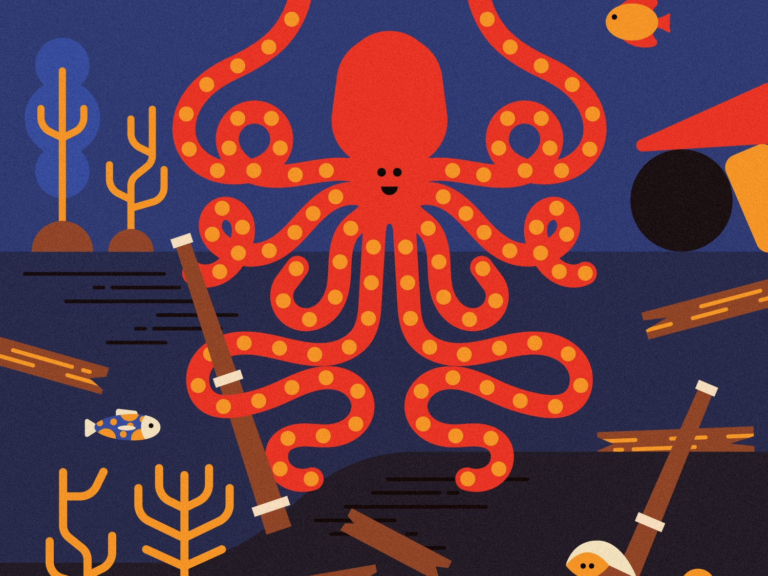 OctoMamma, my friend from deep seas 🐙 children book octopus illustration paris flatdesign