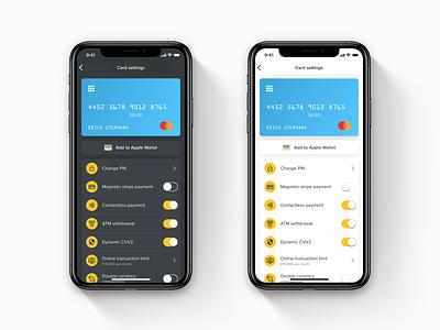 Mobile Card Settings Concept wallet app mobile app design light ui dark ui ios fintech settings page payment app finance app bank app