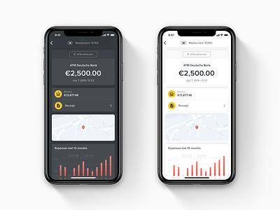 Mobile Transaction Details Concept wallet app receipt payment app mobile app design light ui finance app dark ui bank app ios fintech