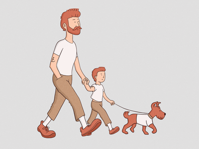 Looks like dad character cute love walk dog son dad family illustration
