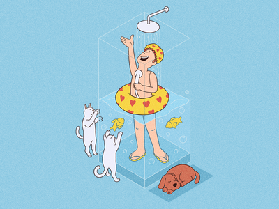 Singin' in The Shower 🎤🚿 dog fish cat sing singer fun cute goodvibes love bathroom shower home happy people character procreate art drawing illustration