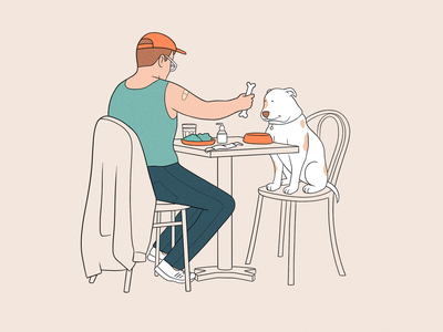 A very special lunch date love date eating good vibes doggy outdoor dining outdoors lunch vaccinated men man dog goodvibes happy people character procreate drawing illustration