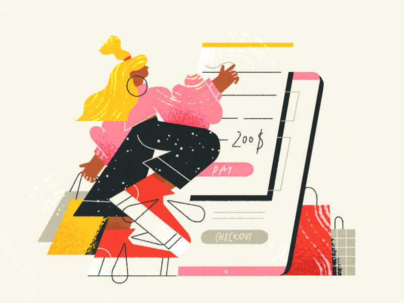 Mobile Checkout Process process mobile checkout app fireart blog news article ux ui photoshop character design illustration