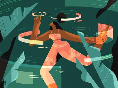 Human-Oriented UX Design character girl news article blog fireart ui illustration webdesign design ux human