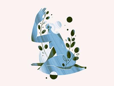 Eucalyptus procreate ink inktober eucalyptus botanical girl illustration woman