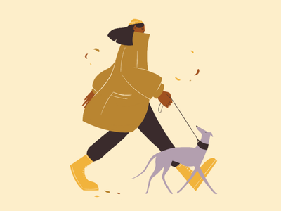 Autumn walk doggo girl greyhound whippet procreate character design illustration dog walk autumn
