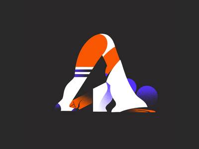 Grab your Anckle - 36 days of type stretching stretch yoga girl illustration design character typography letter 36daysoftype08 36daysoftype