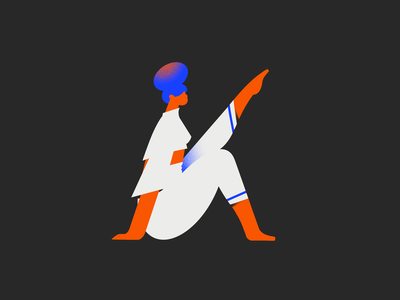 K - 36 days of type letter 36days 36daysoftype yoga fitness workout woman 2d girl character design illustration