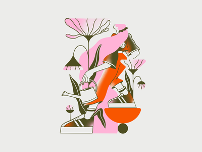 Grow yourself illustration procreate girl women plants watering flow challenge dtiys flowers growth