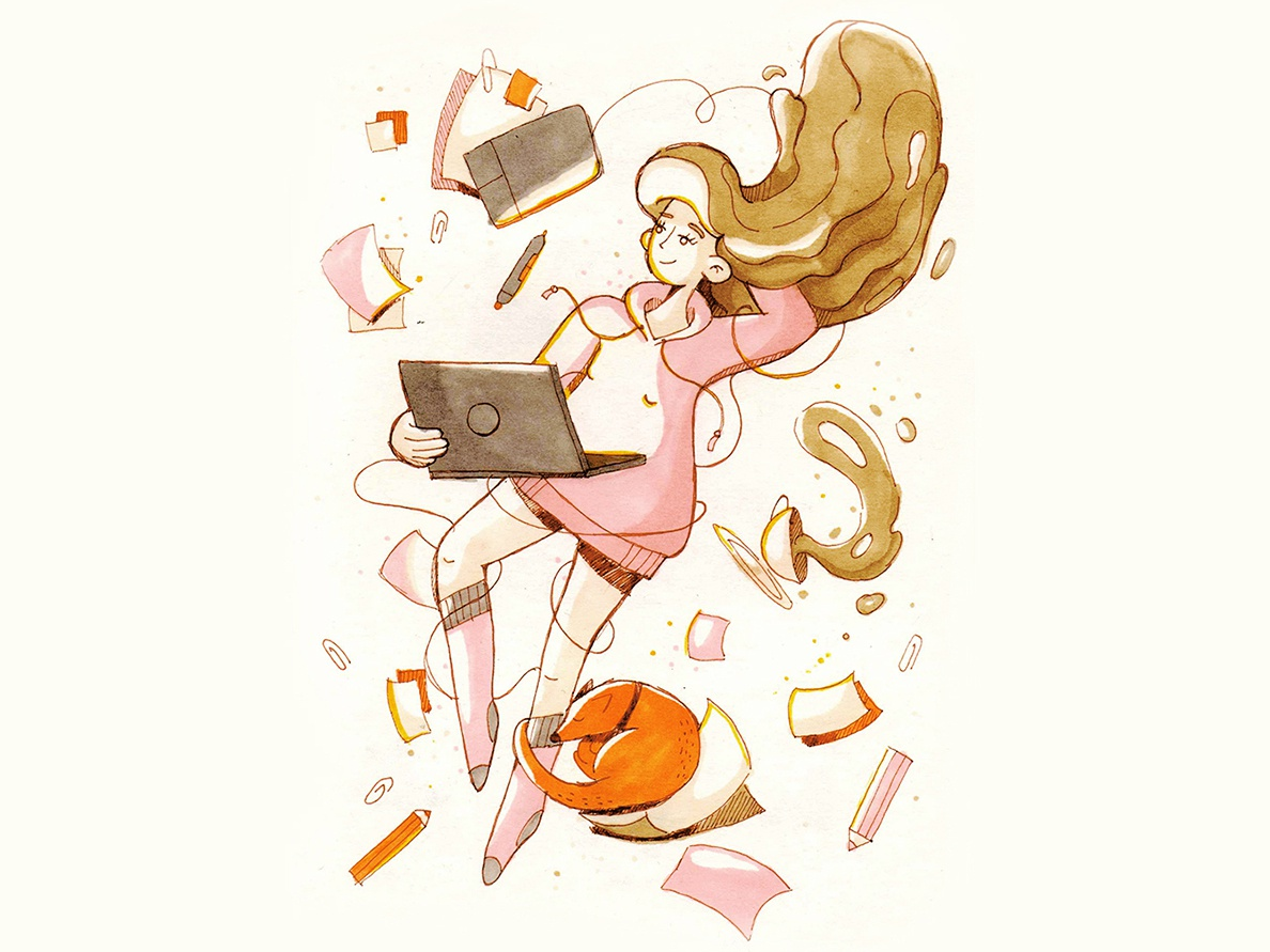 Home office sketch messy papers wacom graphic designer home office laptop doggy doggo traditional doodle marker girl design character 2d illustration
