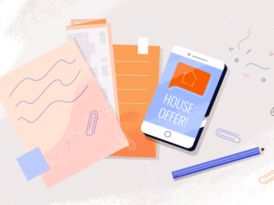 Essentials table maps icon alert papers buyer offer house smartphone phone app ui vector illustrator animation design photoshop brush 2d illustration