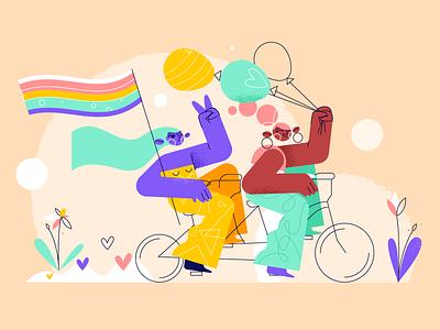 Girls balloons pride design brush 2d animation character illustration bike rainbow flowers love peace colorful fun girls