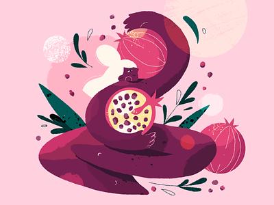 Pomegranate Lady pomegranate lady fruit light fun girl photoshop plant character design brush 2d illustration