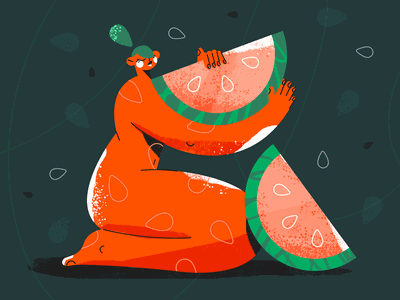 Watermelon Lady nude summer fruit lady watermelon photoshop girl character design 2d illustration