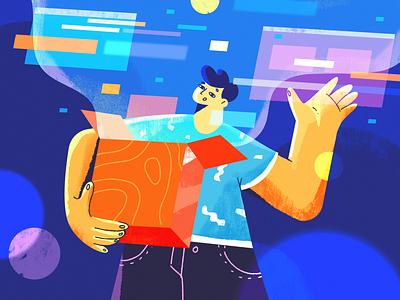 Product Designer news blog article app fireart designer product ux ui character design 2d illustration