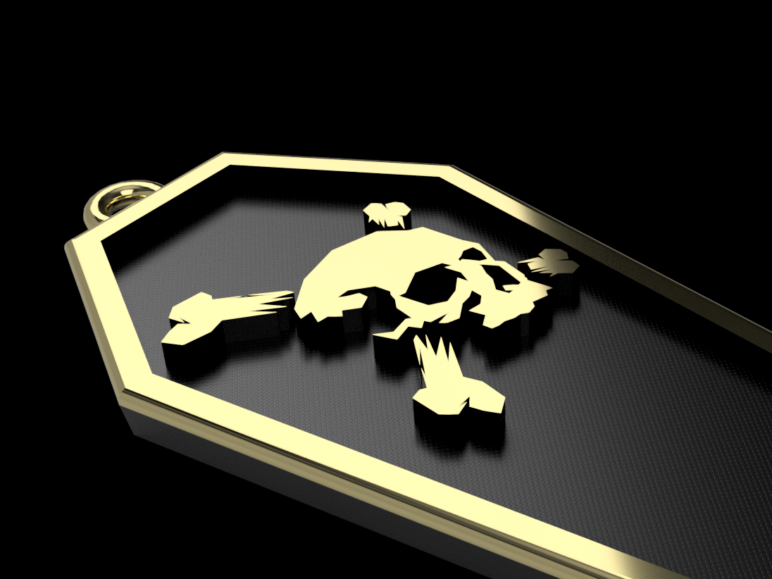 Skull Coffin Cover pendant gold 3d art 3d coffin skull cross bones