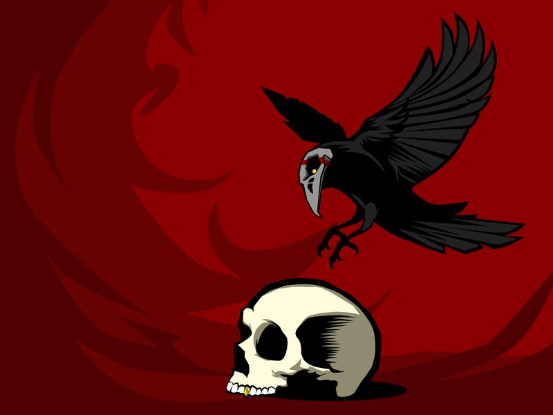 SKULL CROW COMPOSITION illustrator illustration vector skull gold vector art