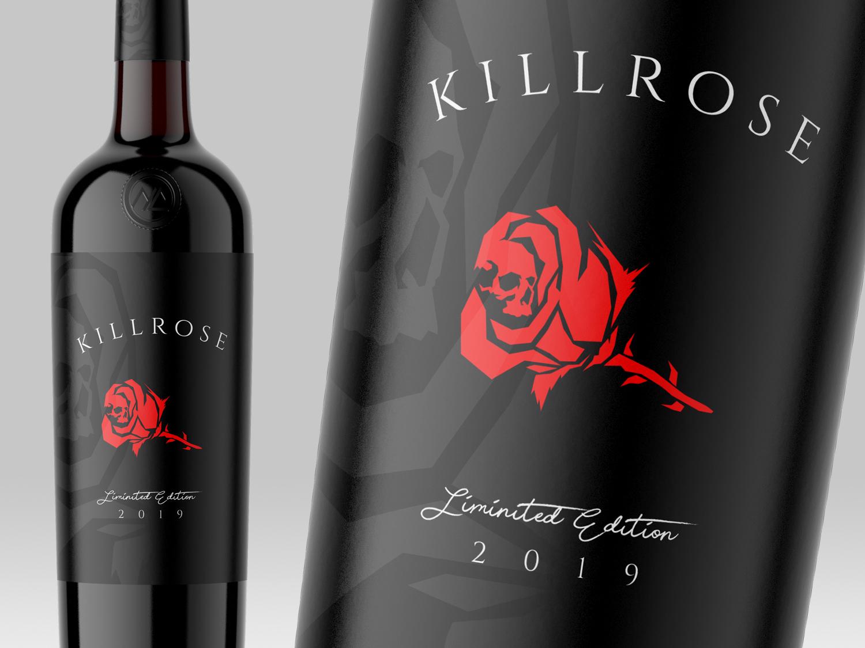 Killrose Wine Product Branding logo design logo wine branding wine bottle label packaging label design product branding illustrator skull branding