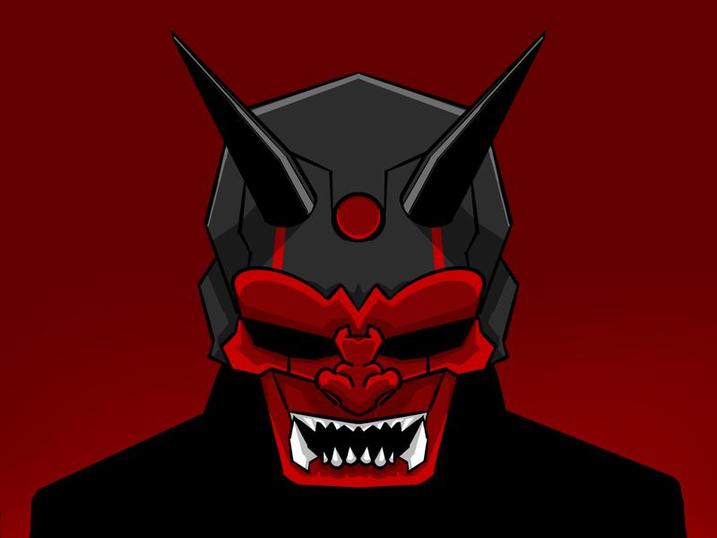 Face The Demon vector art illustration cyberpunk