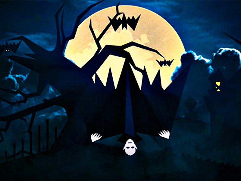 Night Horrors tree dead house haunted grave bat moon demon vampire horror night halloween