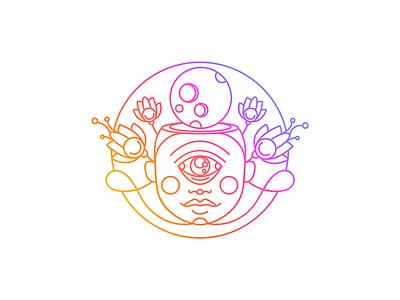 Moon fluorescent neon yoga third eye flower lotus buddha chakra eye moon