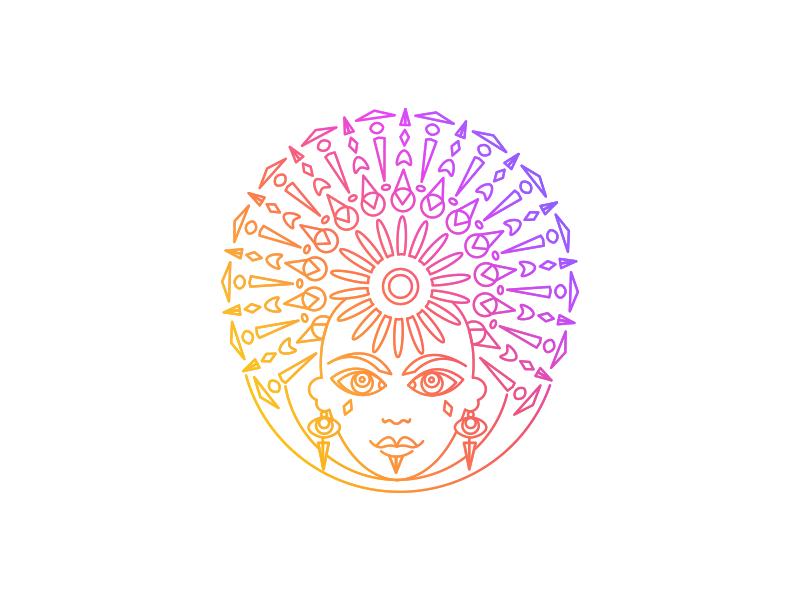 Sun fluorescent neon jewelry earrings crown headpiece face woman sun