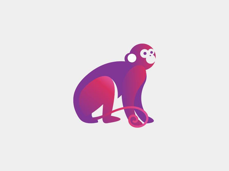 Que Mono cute logo pink purple jewelry monkey