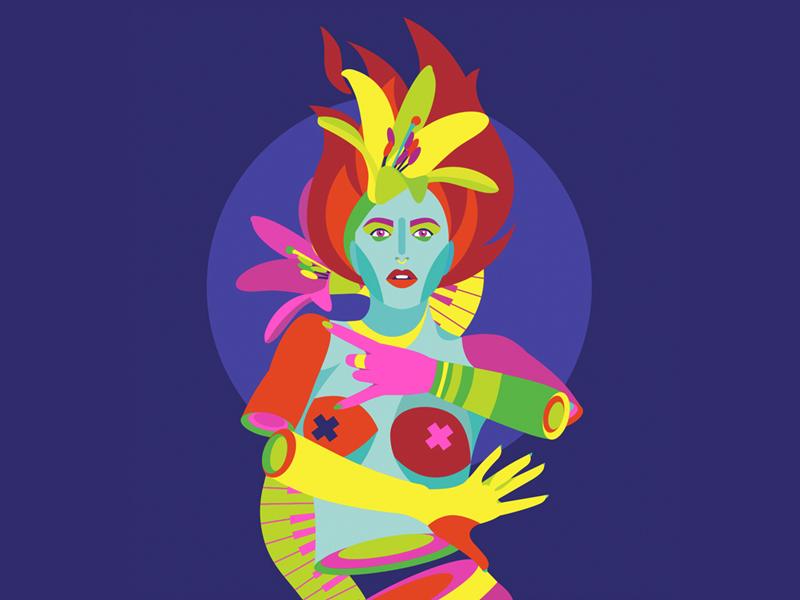 Goddess rock woman psychedelic acid goddess
