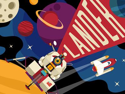 Lander spaceship space rocket moon lander