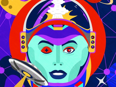 In Space moon planet astronaut spaceship alien woman space