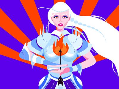 White knight arrow armor albino woman white warrior knight
