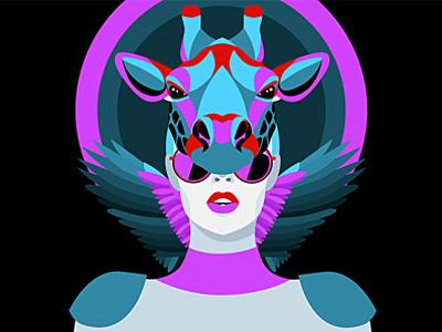 Animal Masquerade masquerade neon giraffe animal club party poster