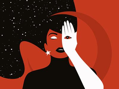 Sleeper red woman stars witch moon sleep