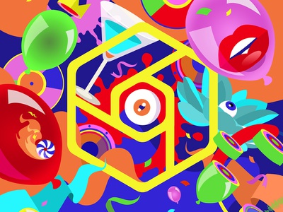 Hex hexagon eye ballon techno acid new year party club hex