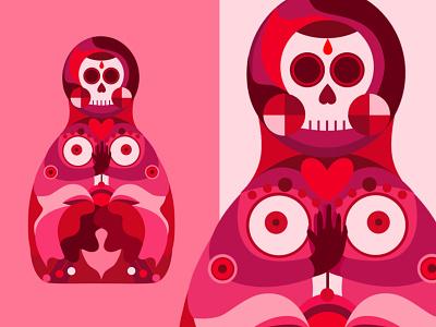 Matryoshka blossom flower geometry neon candy pink skull doll russian doll matryoshka