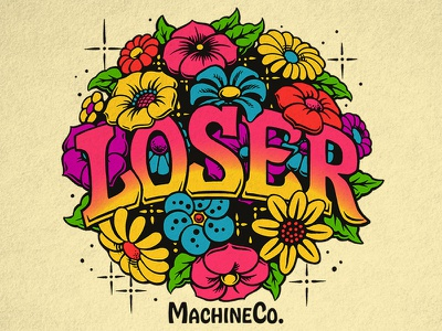 Loser Machine Flowers loser machine hobeaux design 70s illustration flowers ink brush lettering typography