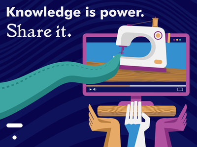 Knowledge is power. online learning mcdaniel belle quote illustration thinkific sewing power knowledge