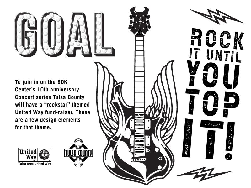 """Rockstar"" United Way Theme Elements lightning guitar rocknroll tulsa rockstar"