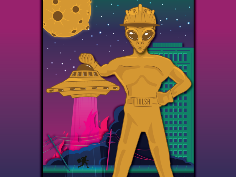 Alien Tulsa Driller Poster oklahoma driller ship fire alien space tulsa