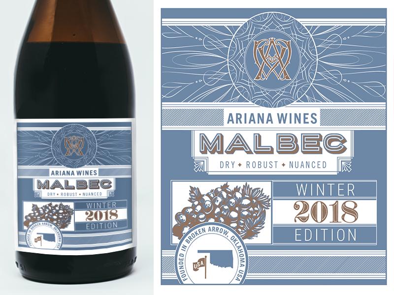 Ariana Wines Malbec Bottle design oklahoma malbec label design bottle design bottle label wine