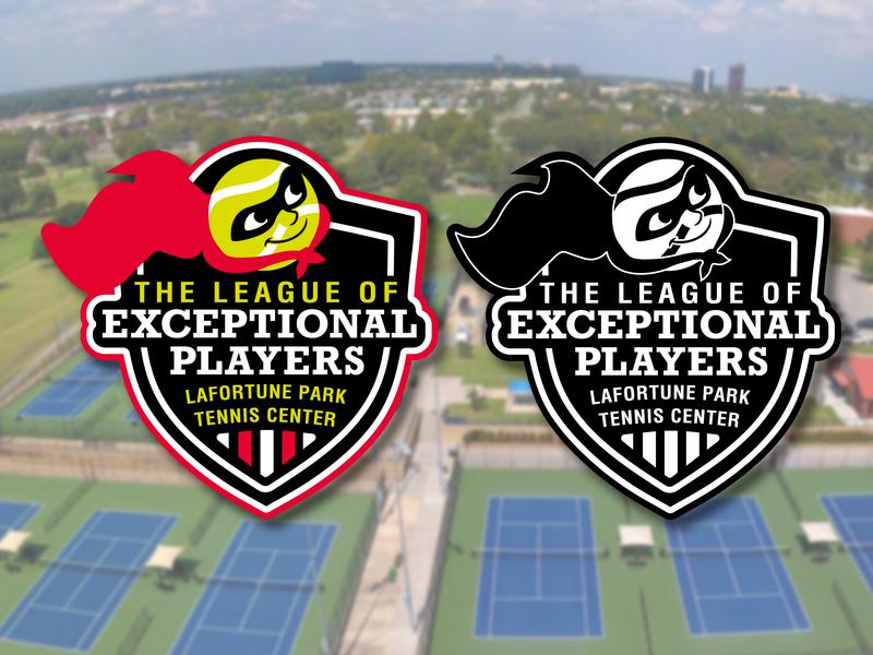 The League of Exceptional Players Logo superhero sports clinics special needs park hero mascot tennis oklahoma tulsa