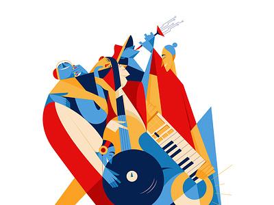 UCMF ELECTRO-ACOUSTIC SECTION design minimalillustration vector characterillustration music festival procreate adobe illustrator freelance illustrator minimal illustration illustration