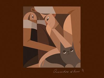 Quarantine At Home procreate art procreateapp procreate newyork cat stayhome quarantine avant-garde cubism minimal illustration illustrator characterillustration freelance illustrator illustration