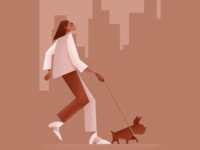 Dog Walker | Fragment dog dog walker nyc procreate minimal illustration illustrator freelance illustrator characterillustration illustration