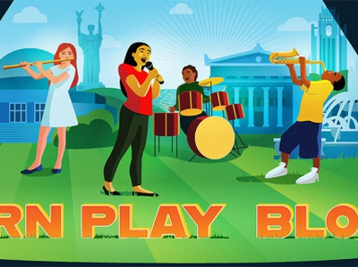 Learn Play Bloom music art billboard design adobe illustrator freelance illustrator flat design vector minimal illustration illustration characterillustration